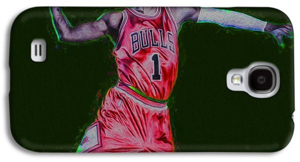 Dunk Galaxy S4 Cases - Chicago Bulls Derrick Rose Painted Digitally RED Galaxy S4 Case by David Haskett
