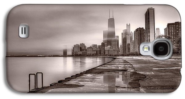 Chicago Galaxy S4 Cases - Chicago Foggy Lakefront BW Galaxy S4 Case by Steve Gadomski