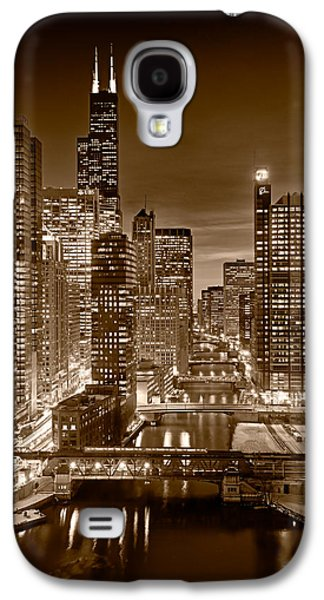 Midwest Galaxy S4 Cases - Chicago River City View B and W Galaxy S4 Case by Steve gadomski