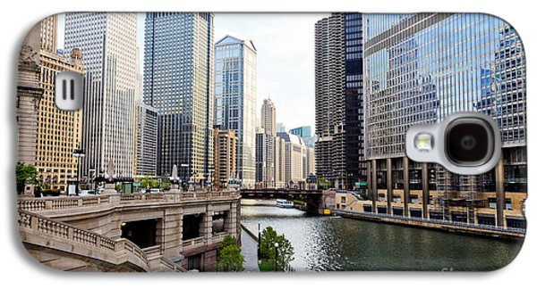 Chicago River Galaxy S4 Cases - Chicago River Skyline Building Architecture Galaxy S4 Case by Paul Velgos