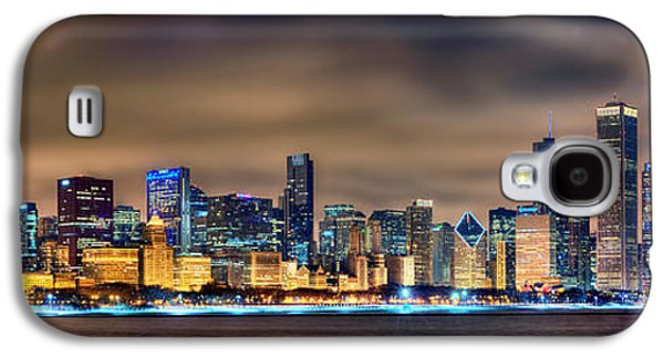 City Scene Galaxy S4 Cases - Chicago Skyline at NIGHT Panorama Color 1 to 3 Ratio Galaxy S4 Case by Jon Holiday