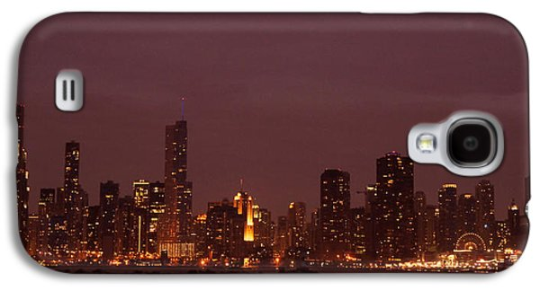 Business Galaxy S4 Cases - Chicago Skyline At Night Galaxy S4 Case by Sheela Ajith