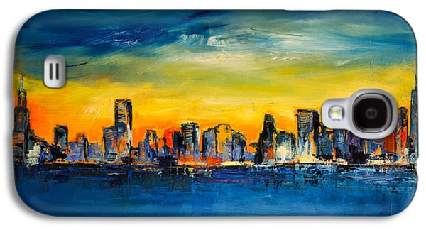 Abstracts Galaxy S4 Cases - Chicago Skyline Galaxy S4 Case by Elise Palmigiani
