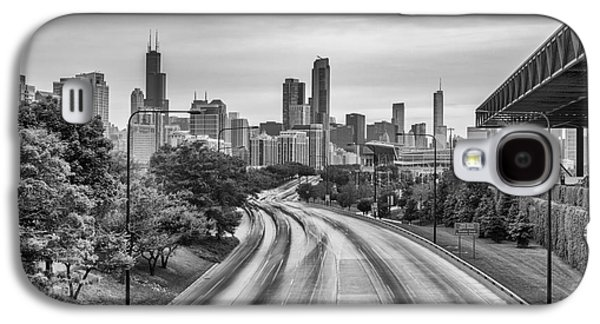 Landmarks Photographs Galaxy S4 Cases - Chicago Skyline in Black and White from the McCormick Place Pedestrian Bridge over Lake Shore Drive  Galaxy S4 Case by Silvio Ligutti
