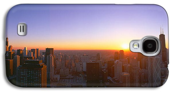 Chicago Sunset, Aerial View, Illinois Galaxy S4 Case by Panoramic Images