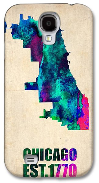 Chicago Galaxy S4 Cases - Chicago Watercolor Map Galaxy S4 Case by Naxart Studio