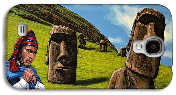 Stones Paintings Galaxy S4 Cases - Chile Easter Island Galaxy S4 Case by Paul Meijering
