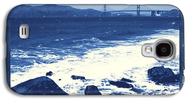 China Beach Galaxy S4 Cases - China Beach and Golden Gate Bridge with Blue Tones Galaxy S4 Case by Carol Groenen