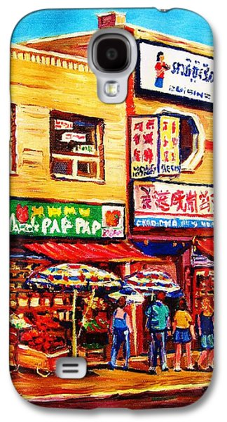 Montreal Storefronts Paintings Galaxy S4 Cases - Chinatown Markets Galaxy S4 Case by Carole Spandau