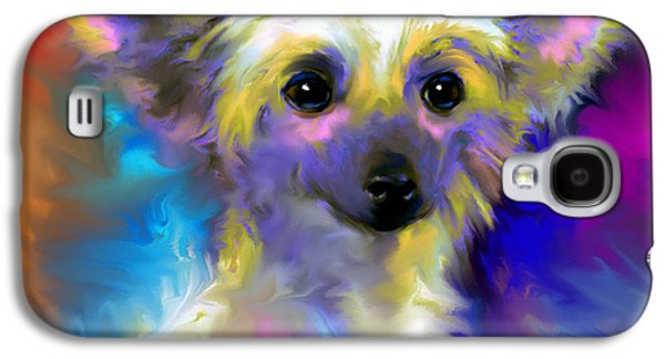 Puppy Drawings Galaxy S4 Cases - Chinese Crested Dog puppy painting print Galaxy S4 Case by Svetlana Novikova