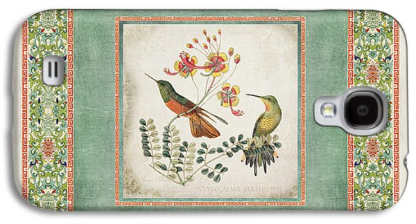 Chinoiserie Vintage Hummingbirds N Flowers 1 Galaxy S4 Case by Audrey Jeanne Roberts
