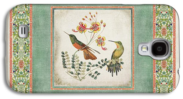 Botanical Galaxy S4 Cases - Chinoiserie Vintage Hummingbirds n Flowers 1 Galaxy S4 Case by Audrey Jeanne Roberts