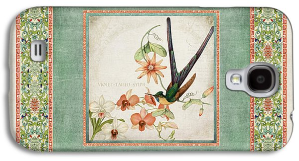 Botanical Galaxy S4 Cases - Chinoiserie Vintage Hummingbirds n Flowers 3 Galaxy S4 Case by Audrey Jeanne Roberts