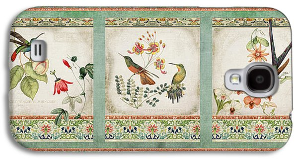 Botanical Galaxy S4 Cases - Triptych - Chinoiserie Vintage Hummingbirds n Flowers Galaxy S4 Case by Audrey Jeanne Roberts