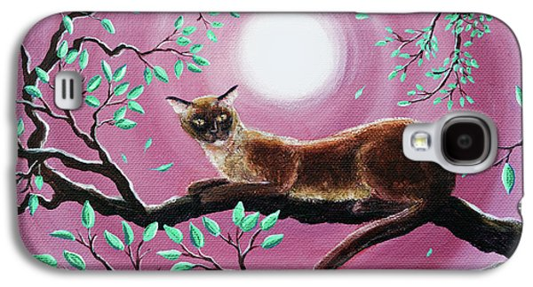 Chocolate Burmese Cat In Dancing Leaves Galaxy S4 Case by Laura Iverson