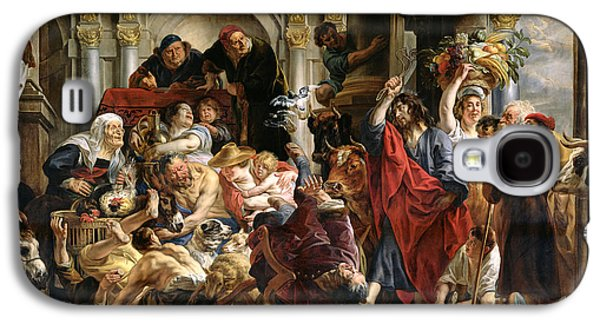 Commerce Galaxy S4 Cases - Christ Driving the Merchants from the Temple Galaxy S4 Case by Jacob Jordaens