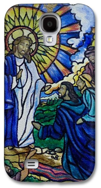To Heal Paintings Galaxy S4 Cases - Christ Healing Blind Bartimaeus Galaxy S4 Case by Antoinette Allen