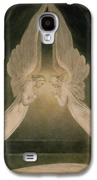 Religious Drawings Galaxy S4 Cases - Christ in the Sepulchre Guarded by Angels Galaxy S4 Case by William Blake