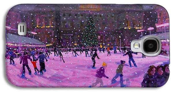 Somerset Galaxy S4 Cases - Christmas skating Somerset House with pink lights Galaxy S4 Case by Andrew Macara