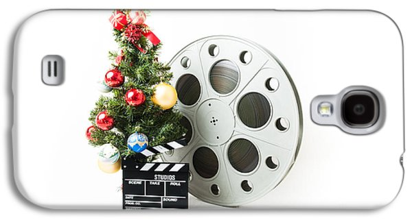 Studio Photographs Galaxy S4 Cases - Christmas tree with big cinema reel and movie clapperboard Galaxy S4 Case by Fabio Pagani