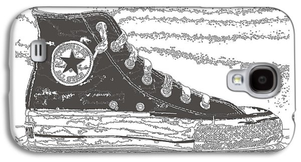Sneakers Mixed Media Galaxy S4 Cases - Chuck Taylor High Tops Galaxy S4 Case by Michael Lax