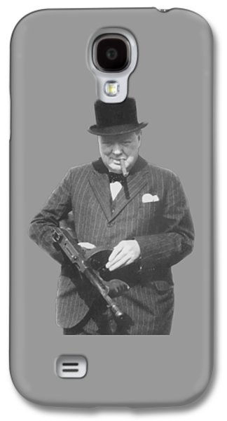 Machine Galaxy S4 Cases - Churchill Posing With A Tommy Gun Galaxy S4 Case by War Is Hell Store