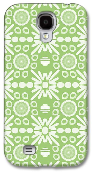 Tiled Galaxy S4 Cases - Cilantro- Green and White Art by Linda Woods Galaxy S4 Case by Linda Woods