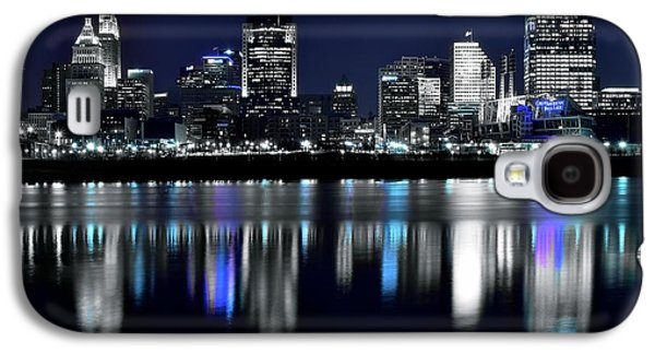 Landmarks Photographs Galaxy S4 Cases - Cincinnati Black and White Lights in the Night Galaxy S4 Case by Frozen in Time Fine Art Photography