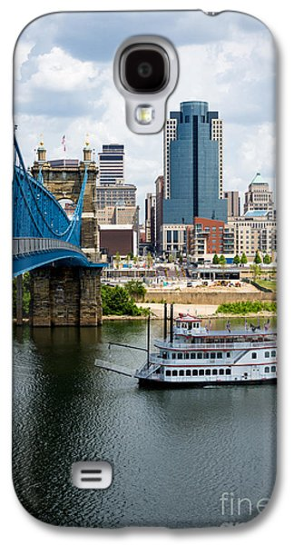 Steamboat Galaxy S4 Cases - Cincinnati Skyline Riverboat and Bridge Galaxy S4 Case by Paul Velgos
