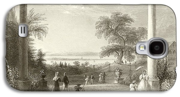 Garden Scene Drawings Galaxy S4 Cases - City and Lake of Constance from the Chateau Wolfsberg Galaxy S4 Case by William Henry Bartlett