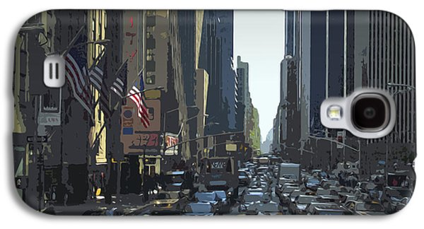 Abstract Digital Mixed Media Galaxy S4 Cases - City-Art 6th Avenue NY  Galaxy S4 Case by Melanie Viola