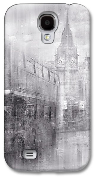 Decorative Photographs Galaxy S4 Cases - City-Art LONDON Westminster Collage black and white Galaxy S4 Case by Melanie Viola