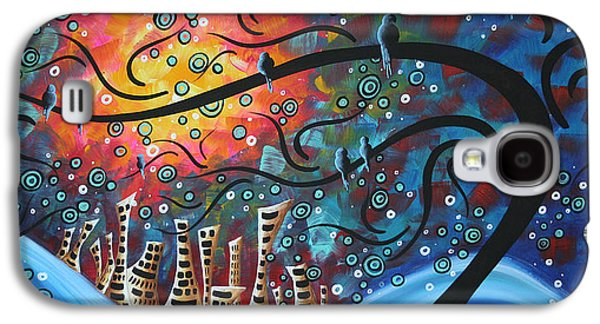Blue Abstract Galaxy S4 Cases - City by the Sea by MADART Galaxy S4 Case by Megan Duncanson