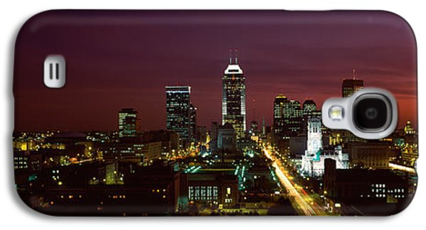 Indiana Scenes Galaxy S4 Cases - City Lit Up At Night, Indianapolis Galaxy S4 Case by Panoramic Images