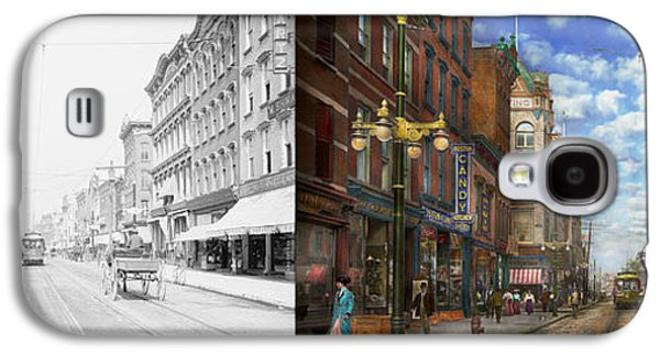 Schwartz Galaxy S4 Cases - City - NY - Main Street Poughkeepsie NY - 1906 - Side by side Galaxy S4 Case by Mike Savad