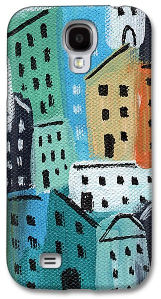 Buildings Mixed Media Galaxy S4 Cases - City Stories- Blue and Orange Galaxy S4 Case by Linda Woods