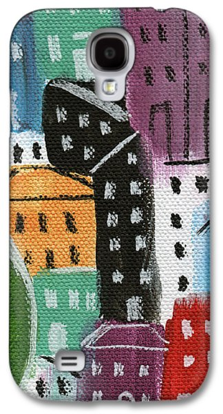Buildings Mixed Media Galaxy S4 Cases - City Stories- By The Park Galaxy S4 Case by Linda Woods