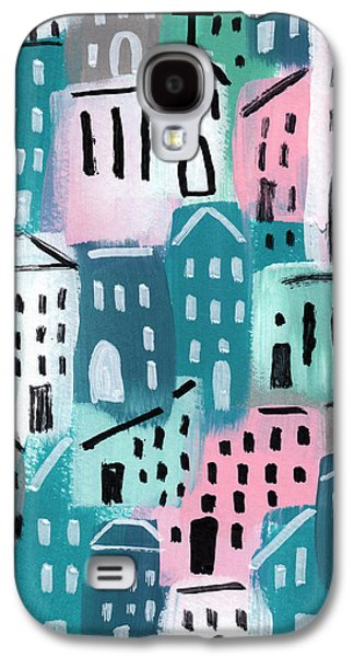 Town Mixed Media Galaxy S4 Cases - City Stories- Church On The Hill Galaxy S4 Case by Linda Woods