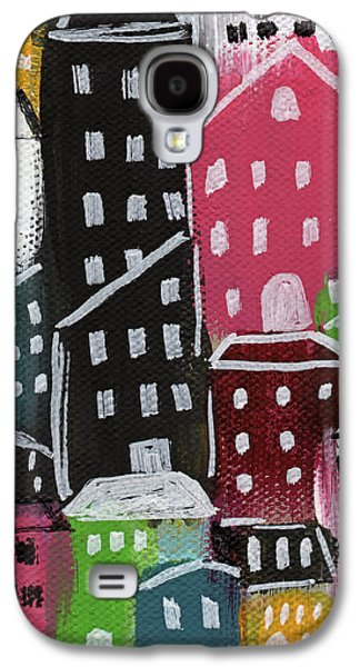 Buildings Mixed Media Galaxy S4 Cases - City Stories- Colorful Galaxy S4 Case by Linda Woods