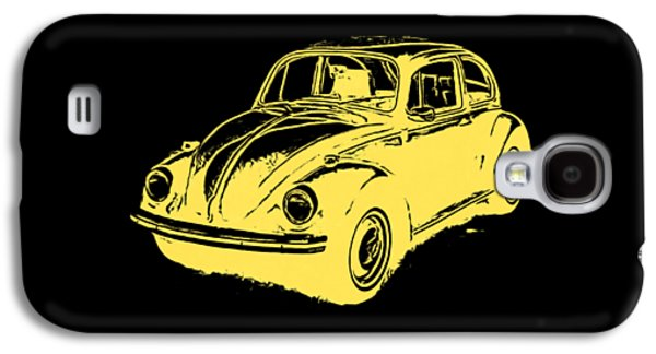 Recently Sold -  - Drawing Galaxy S4 Cases - Classic VW Beetle Tee Yellow Ink Galaxy S4 Case by Edward Fielding