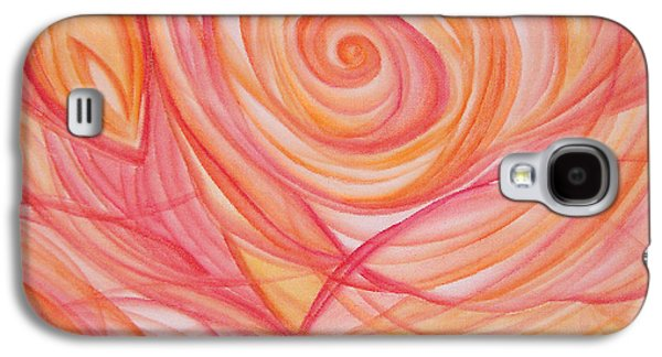 Sunset Abstract Mixed Media Galaxy S4 Cases - Clems Rose Galaxy S4 Case by Caroline Czelatko
