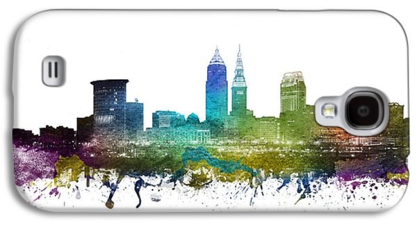 Skylines Drawings Galaxy S4 Cases - Cleveland Cityscape 01 Galaxy S4 Case by Aged Pixel