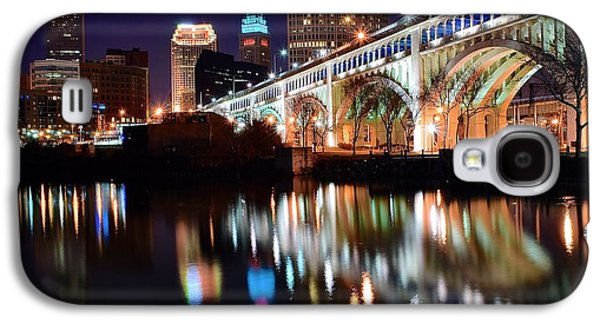 Veterans Stadium Galaxy S4 Cases - Cleveland Ohio Skyline Galaxy S4 Case by Frozen in Time Fine Art Photography