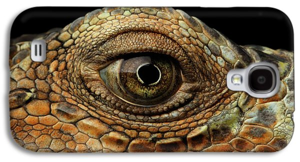 Closeup Eye Of Green Iguana, Looks Like A Dragon Galaxy S4 Case by Sergey Taran