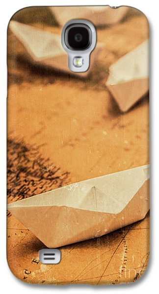 Closeup Toned Image Of Paper Boats On World Map Galaxy S4 Case by Jorgo Photography - Wall Art Gallery