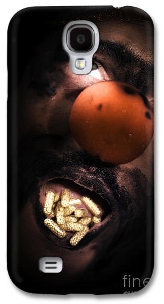 Creepy Galaxy S4 Cases - Clown With Capsules In Mouth Galaxy S4 Case by Ryan Jorgensen