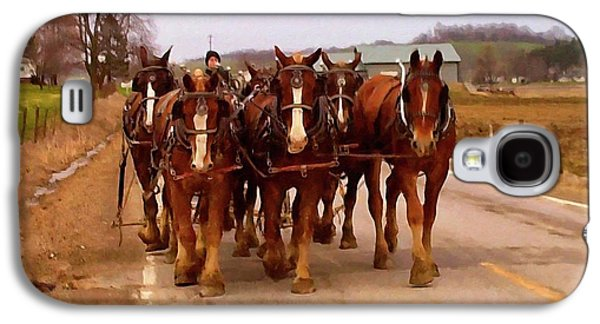 Clydesdale Amish Plow Team Galaxy S4 Case by Chris Flees