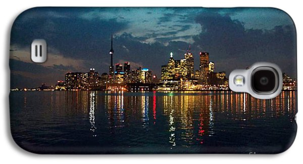 Business Galaxy S4 Cases - CN  Tower and Toronto Down Town Water Front beauty at night full blast photo Galaxy S4 Case by Navin Joshi