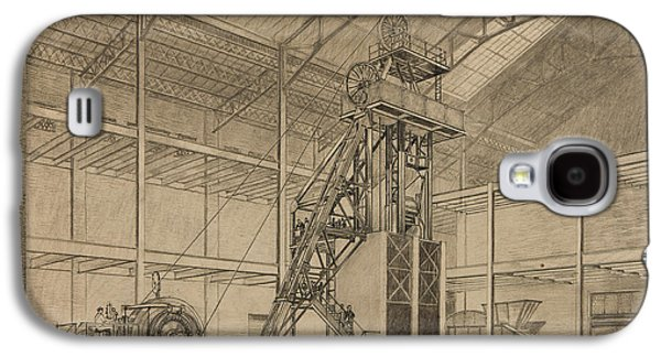 Pen And Ink Drawing Drawings Galaxy S4 Cases - Coal Mine Hoist Galaxy S4 Case by Percy Hale Lund