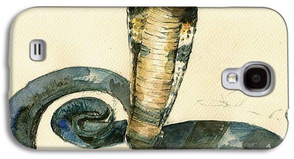 Cobra Snake Watercolor Painting Art Wall Galaxy S4 Case by Juan  Bosco
